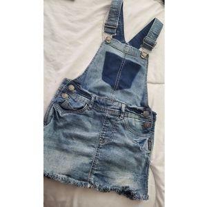 Girls, Silver jean overall dress
